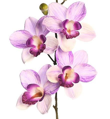 Flores artificiales lilas y moradas